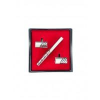Brianze Gümüş Renk Kol Düğmesi ve Kravat İğnesi Set KD-79