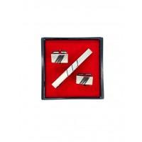 Brianze Gümüş Renk Kol Düğmesi ve Kravat İğnesi Set KD-80