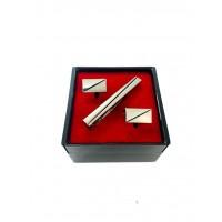 Brianze Gümüş Renk Kol Düğmesi ve Kravat İğnesi Set KD-84