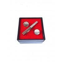 Brianze Gümüş Renk Kol Düğmesi ve Kravat İğnesi Set KD-89