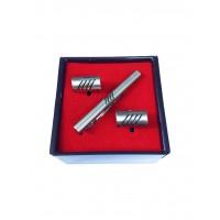 Brianze Gümüş Renk Kol Düğmesi ve Kravat İğnesi Set KD-90