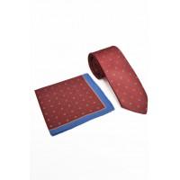 Brianze İtalyan Stil Kırmızı Mendilli Kravat