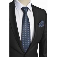 Brianze İtalyan Stil Lacivert Mendilli Kravat