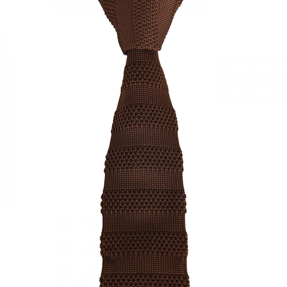 Brianze Kahverengi Çizgili Örgü Kravat OK-40