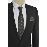 Brianze Kare Desen Siyah Mendilli Kravat