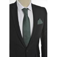 Brianze Kare Desen Yeşil Mendilli Kravat