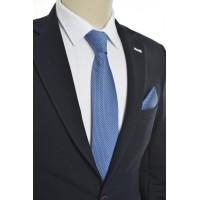 Brianze Kendinden Desenli Mavi Mendilli Kravat