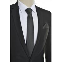 Brianze Kendinden Desenli Siyah Mendilli Kravat