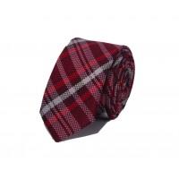 Brianze Kırmızı Beyaz Ekoseli Slim Kravat SKP-1