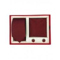 Brianze Kırmızı Damla Desen Lacivert Kravat Mendil Kol Düğmesi Kutulu Hediyelik Set