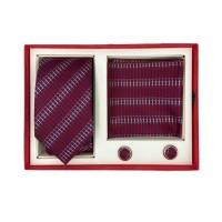 Brianze Kırmızı Kravat Mendil Kol Düğmesi Kutulu Hediyelik Set