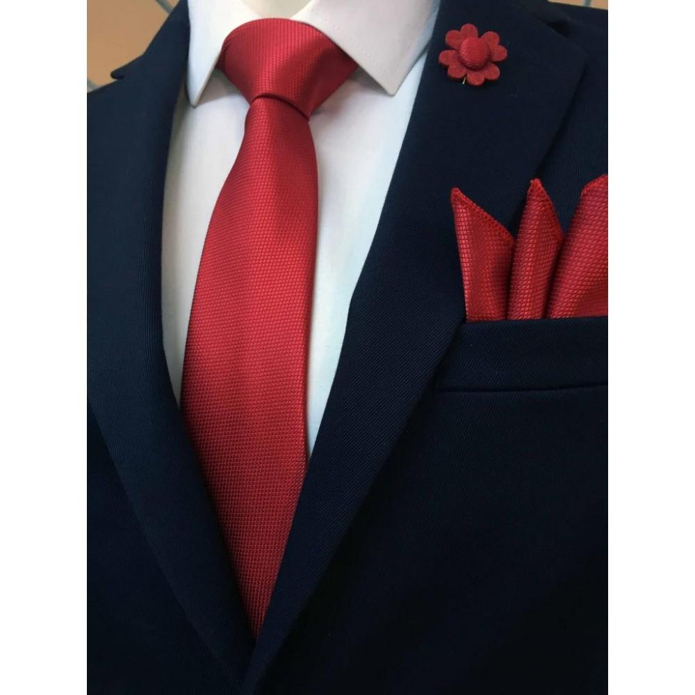 Brianze Kırmızı Kravat Mendil Yaka Çiçeği Set KMC-2