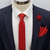 Brianze Kırmızı Kravat Mendil Yaka Çiçeği Set KMD-2