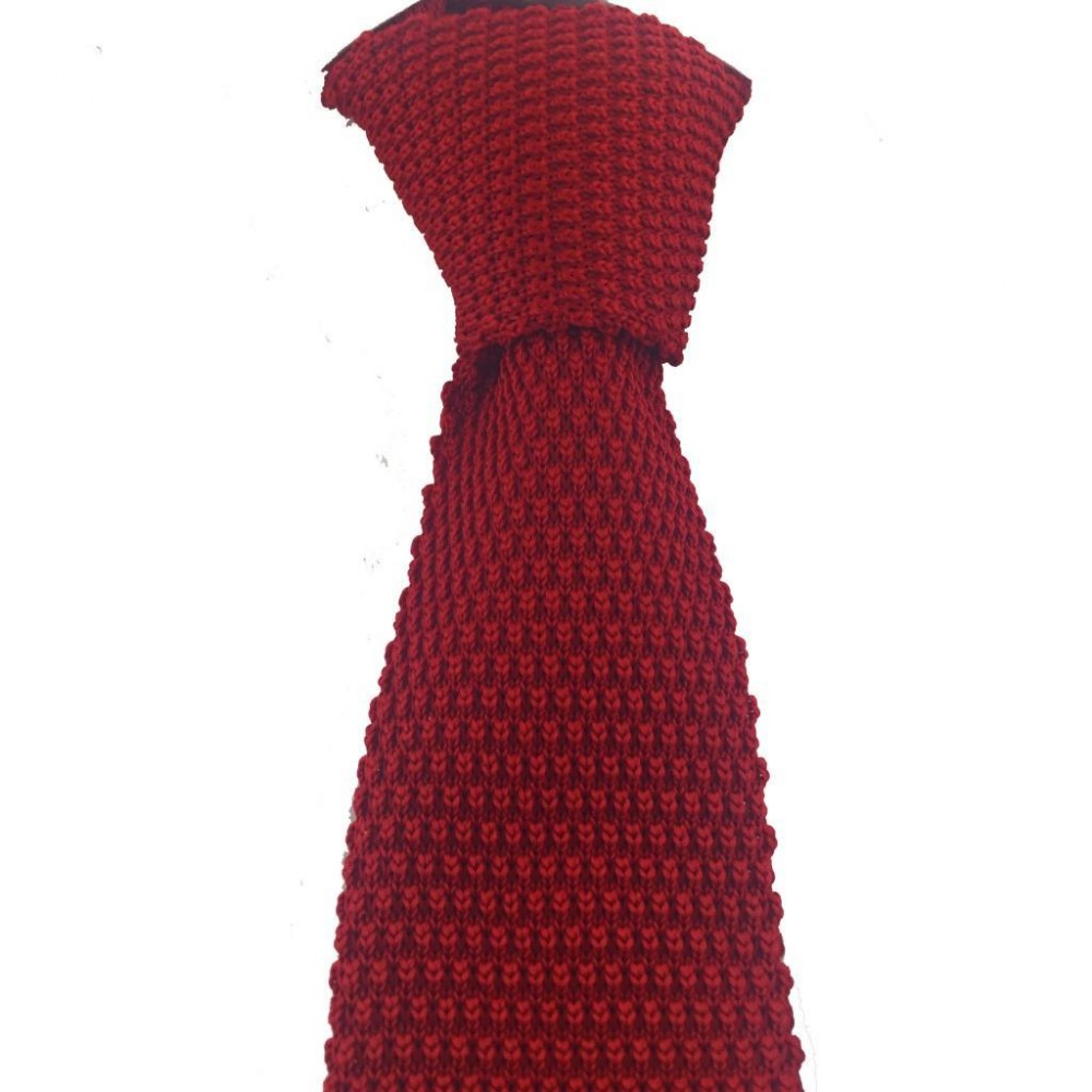 Brianze Kırmızı Renk Örgü Kravat OK-12