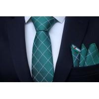 Brianze Koyu Yeşil Ekose Desen Mendilli Kravat MKAB-1