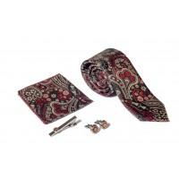 Brianze Krem Şal Desen Kravat Mendil Kravat İğnesi ve Kol Düğmesi