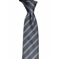 Brianze Mavi Çizgili Mendilli Gri Kravat