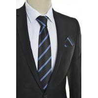 Brianze Mavi Çizgili Siyah Mendilli Kravat
