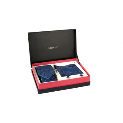 Brianze Mavi Şal Desen Kravat Mendil Kravat İğnesi ve Kol Düğmesi