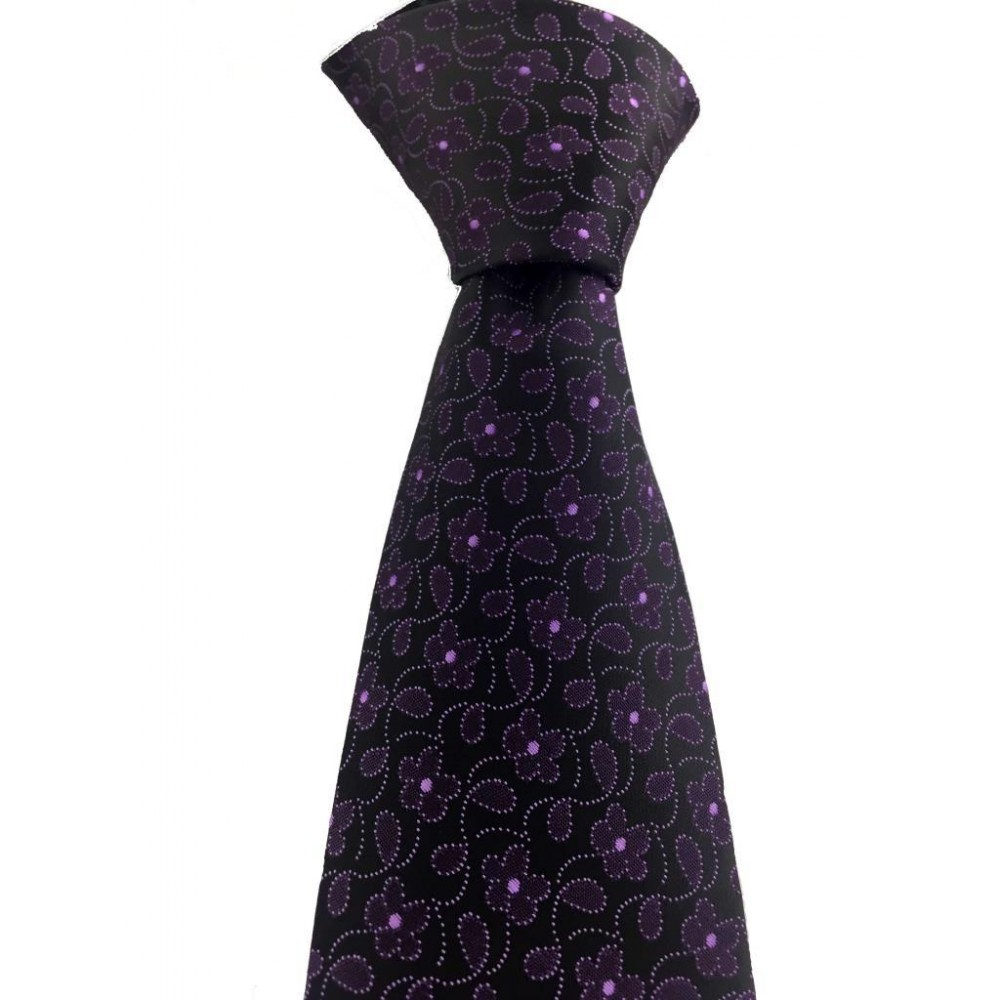 Brianze Mor Çiçek Desen Mendilli Siyah Kravat MKY-3