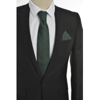 Brianze Motif Desen Koyu Yeşil Mendilli Kravat