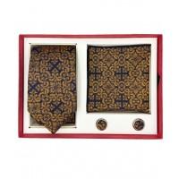 Brianze Motif Desen Gold Kravat Mendil Kol Düğmesi Kutulu Hediyelik Set