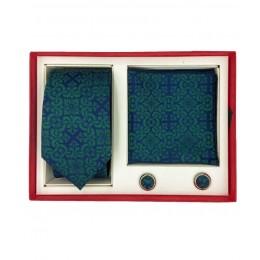 Brianze Motif Desen Yeşil Kravat Mendil Kol Düğmesi Kutulu Hediyelik Set