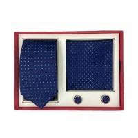 Brianze Noktalı Lacivert Kravat Mendil ve Kol Düğmesi Hediyelik Kutulu Set