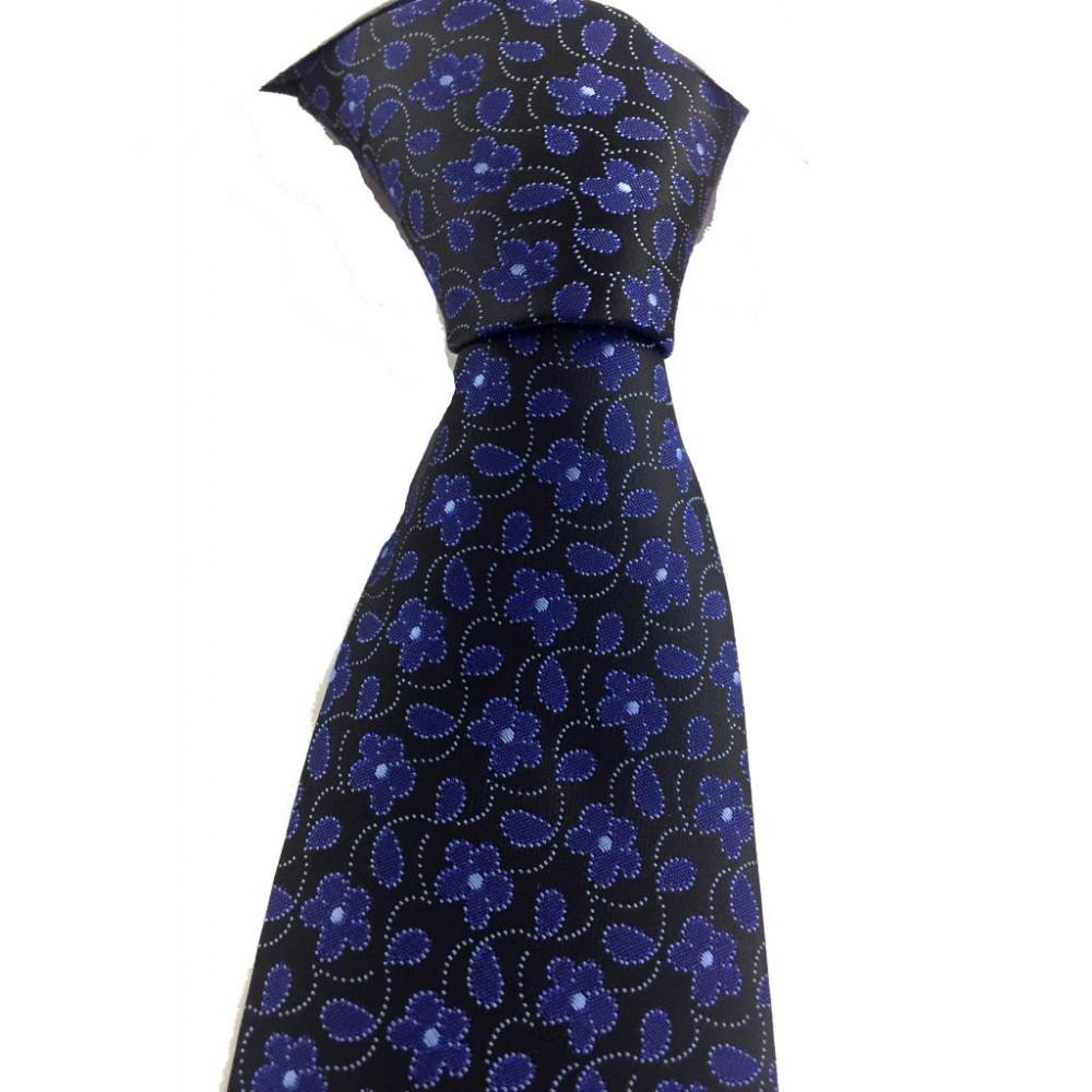 Brianze Saks Mavi Çiçek Desen Mendilli Siyah Kravat MKY-2