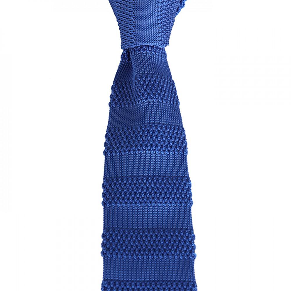 Brianze Saks Mavi Çizgili Örgü Kravat OK-11