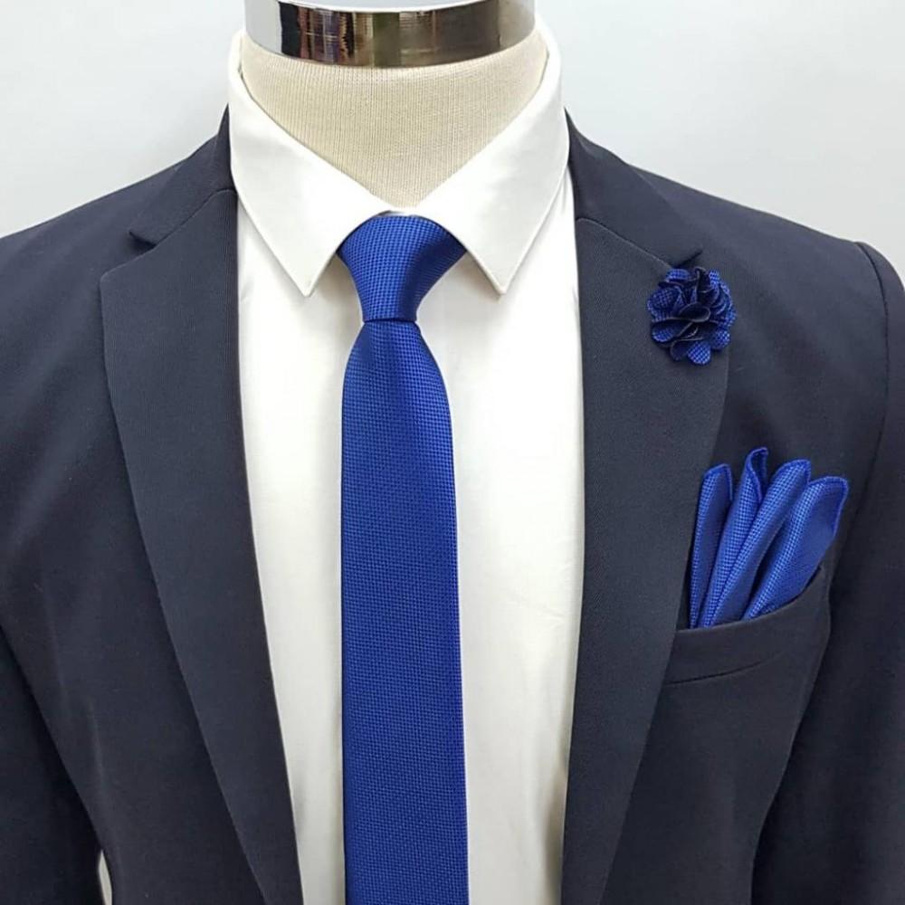 Brianze Saks Mavi Kravat Mendil Yaka Çiçeği Set KMD-3