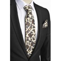 Brianze Şal Desen İtalyan Stil Krem Mendilli Kravat