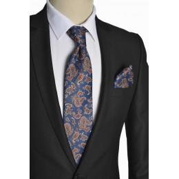Brianze Şal Desen İtalyan Stil Lacivert Mendilli Kravat