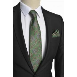 Brianze Şal Desen İtalyan Stil Yeşil Mendilli Kravat