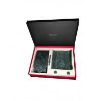 Brianze Şal Desen Yeşil Kravat Mendil Kol Düğmesi Kravat İğnesi