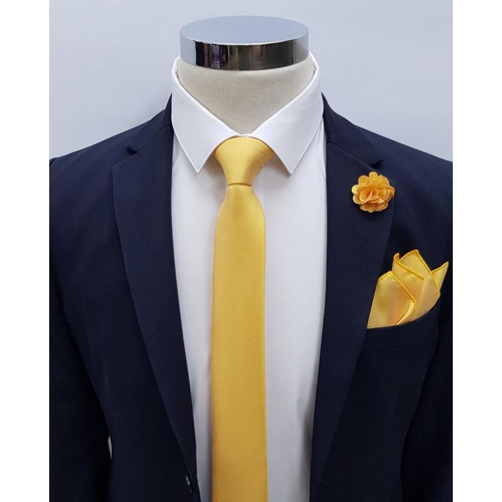 Brianze Sarı Kravat Mendil Yaka Çiçeği Set KMD-1