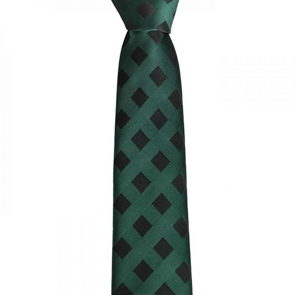 Brianze Siyah Kareli Yeşil Slim Kravat SKS-2