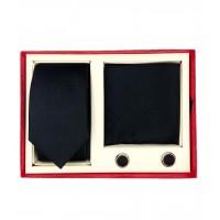 Brianze Siyah Kravat Mendil ve Kol Düğmesi Kutulu Hediyelik Set