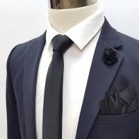 Brianze Siyah Kravat Mendil Yaka Çiçeği Set KMD-10