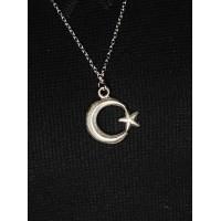 Brianze Türk Bayrağı Gümüş Kaplama Kolye