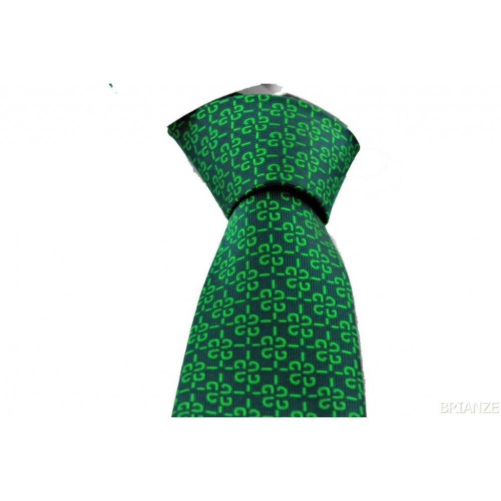 Brianze Yeşil Desenli Mendilli Kravat