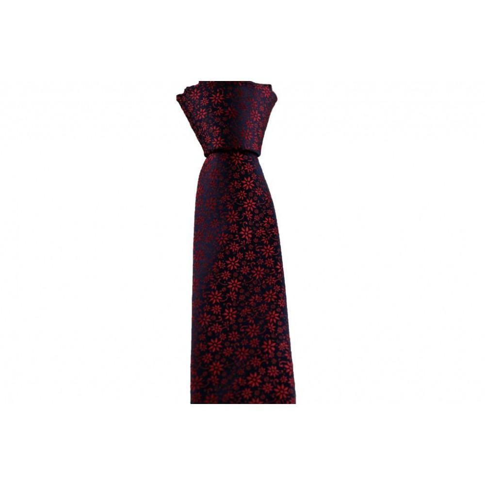 Çiçekli Kırmızı Slim Kravat-Brianze SKAA-1