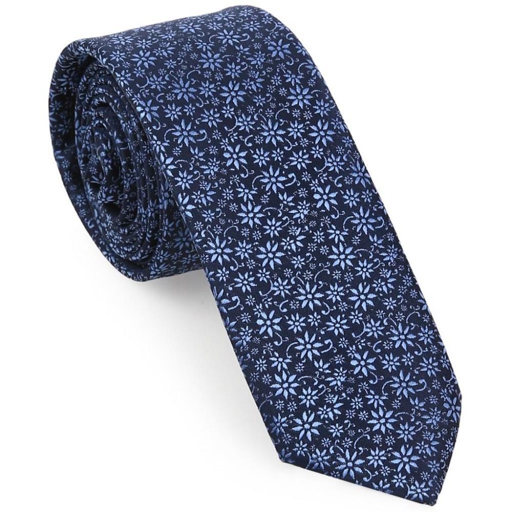 Çiçekli Mavi Slim Kravat-Brianze SKAA-2