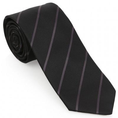 Gri Çizgili Mendilli Siyah Kravat-Brianze MKAR-1