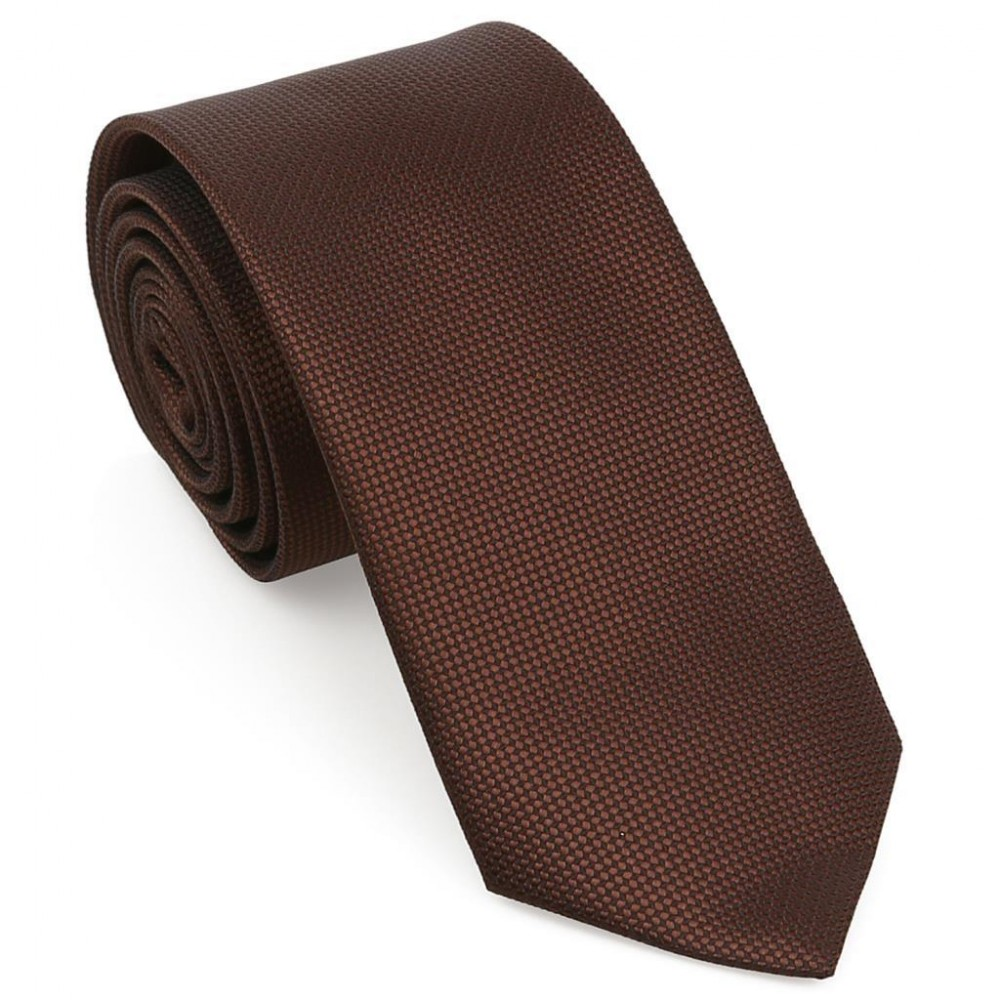Kahverengi Oxford Model Mendilli Kravat-Brianze MKAS-8