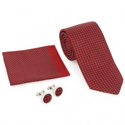Kırmızı Kravat Kol Düğmesi Hediyelik Set-Brianze KMK-18
