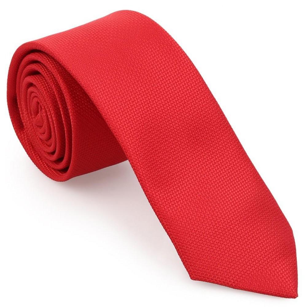 Kırmızı Oxford Model Mendilli Kravat-Brianze MKAS-2