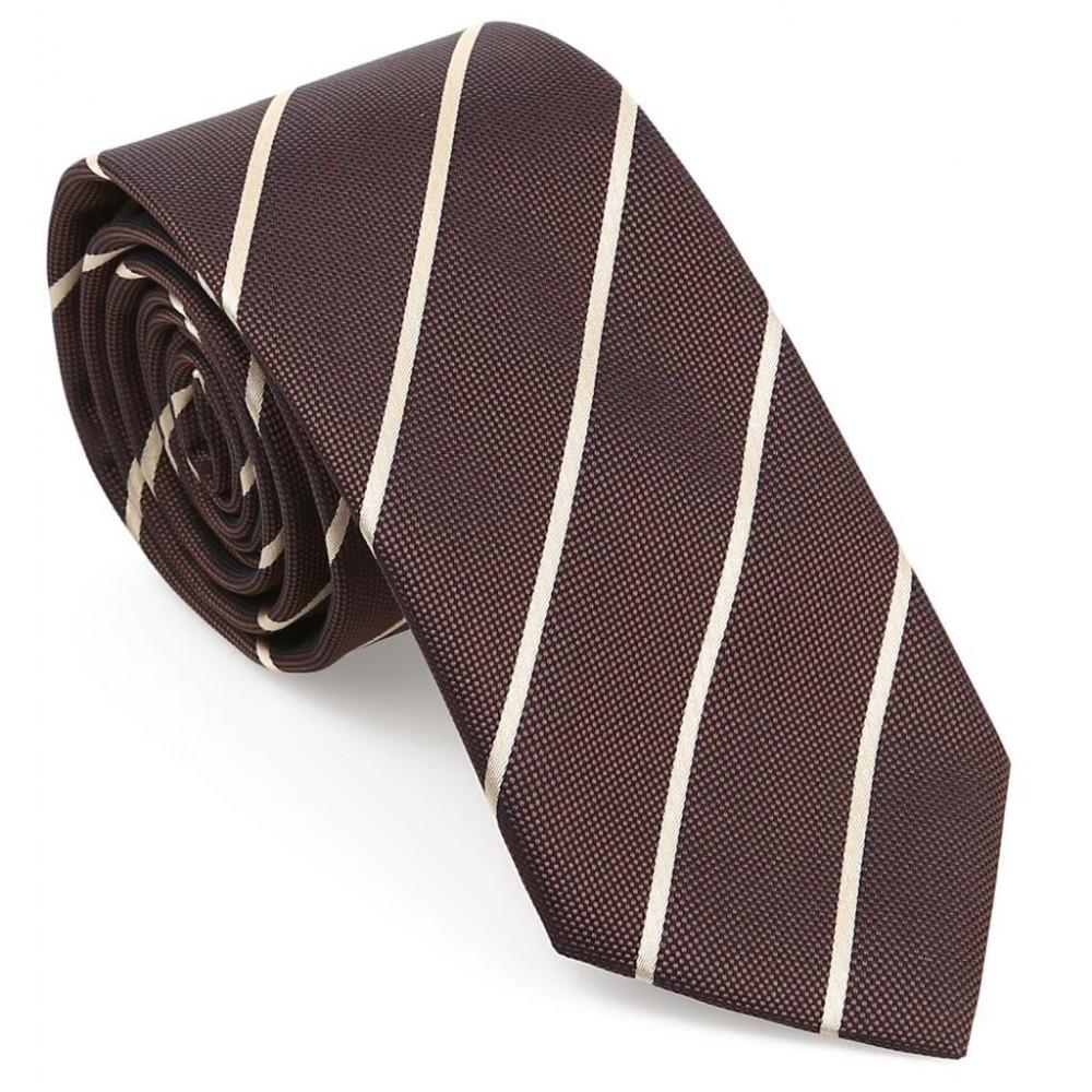 Krem Çizgili Mendilli Kahverengi Kravat-Brianze MKAR-4