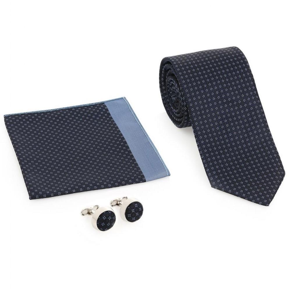 Lacivert Kravat Kol Düğmesi Hediyelik Set-Brianze KMK-16