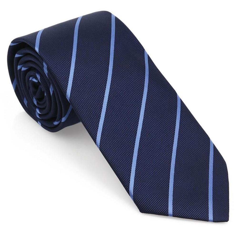 Mavi Çizgili Mendilli Lacivert Kravat-Brianze MKAR-5